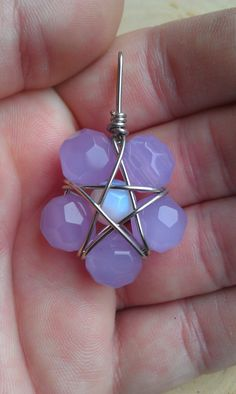 ✯ Lavender Glass and Pink Opalite Wire Wrapped Pentagram Pendant :: Etsy Shop TheSkeletonsKey✯