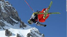 Half-pipe freestyle skiing
