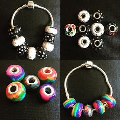 Made some clay beads  #beads #bracelet #pandora #rainbow #black #white #polymer #clay #polymerclay #charm #rhinestones #handmade