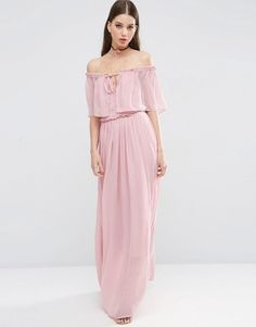 ASOS Ruffle and Tiered Off Shoulder Maxi Dress #prom