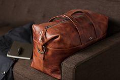 brown leather weekender