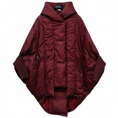 Grandi dimensioni parka a forma di bozzolo sciolto caldo di spessore anatra giù donne giacca con cappuccio nero bats moda giacca invernale LM41