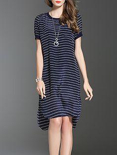 Navy Blue Slit Linen H-line Elegant Midi Dress