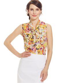 Tahari ASL Floral-Print Tie-Front Top - Tops - Women - Macy's