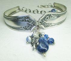 Vintage Spoon Bracelet ~ Fleur de Lis, Blue Sodalite Beads, White Pearls