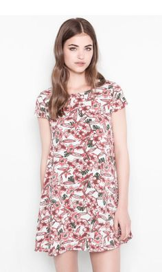 Flower print dress - pull and bear