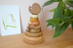 Wooden Baby Toy Whale/ Wooden Stacking Toy/ Waldorf toy/ Wooden Toddler Toy/ Ring Stacker/ Montessori Game/ Organic Toy/ Educational Toy by MamumaBird on Etsy