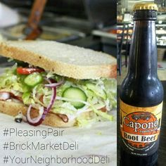 Treat your taste buds to our yummy Turkey & Cheese sandwich & a bottle of Capone Family Secret Root Beer today!
