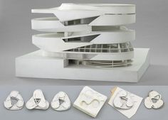 Various models from the Mercedes-Benz Museum in Stuttgart, Germany (2001-2006) acquired by MoMA, image courtesy UN Studio