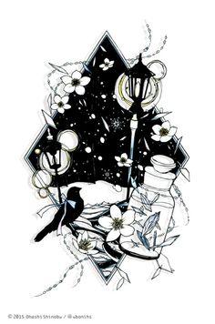 切り絵 / Paper cutting artあかりに雪ぐ - akari ni sosogu / 2014.12