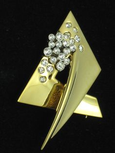 GIVENCHY  Vintage Dated 1978  18K Gold Plated Rhinestone Brooch Pin