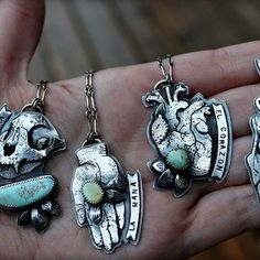 Size reference in natural lighting (it's rainy and overcast but I'll take what I can get) ⚡️⛈⚡️ #turquoise #Milagros #milagro #exvoto #exvotos #boho #bohemian #heart #anatomical #skull #skulls #bones #bone #banner #tattoo #tattoos #silversmith #designer #jewelry #handmade #gypsy #woodland #forest #damele #cabochon #metalwork #mothmetal #instasmithy #corazon #fishing