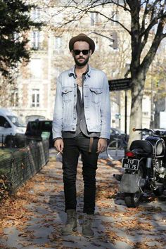 hipster (or Micheal Stipe in the 80's- I can't tell the difference) denim Jeans jacket black jeans boots shirt Style streetstyle fashion men
