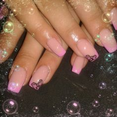 Pink french gel nails