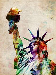 """""""Statue of Liberty"""" by Michael Tompsett, Castellon // Statue of Liberty, Urban Watercolor Art. The Statue of Liberty is a giant sculpture on Liberty Island in New York Harbor. The statue was a gift to the United States from France. It was designed by Frederic Bartholdi. It represents Libertas, the Roman goddess of freedom. The statue... // Imagekind.com -- Buy stunning, museum-quality fine art prints, framed prints, and canvas prints directly from independent working artists and…"""