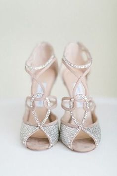 Jimmy Choo neutral colored shiny wedding shoes