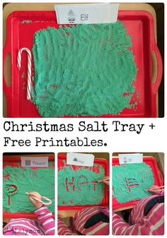 Fun Writing Activity for Kindergarten or First Grade. Christmas Salt Tray with Free Printable Seasonal Words Cards!