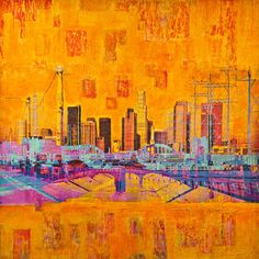 "City Squares,  36x36"" #mixed_media #painting on wood panel by Anyes Galleani"