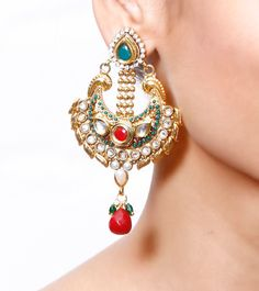 #Multicoloured Embellished #Earrings by #Rooh at #Indianroots