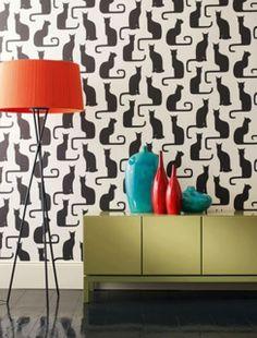 decoração jovial com papel de parede gatos