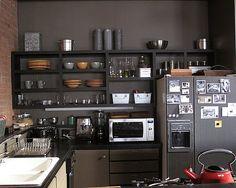 dark gray kitchen open shelving