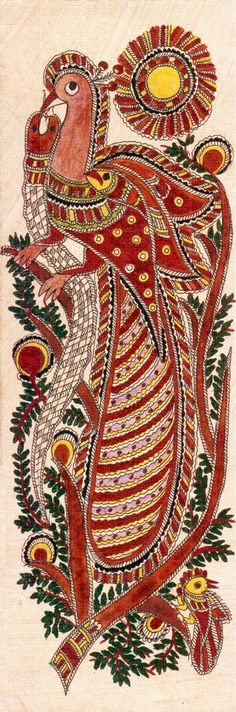 Madhubani or Mithila Paintings are said to have originated during the period of Ramayana, when King Janaka commissioned artists to do paintings during the wedding of his daughter, Sita to Lord Ram. The paintings usually depicted nature and Hindu religious motifs, the themes generally revolve around Hindu deities.http://handicrafts.exoticabazaar.com/view/4830-7-bird105.html