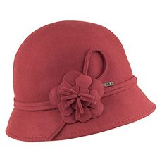 Scala Hats Wool Felt Cloche With Rosette - Burnt Orange