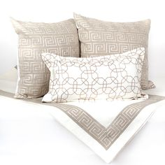 Neutral Beige and White Bed Set Includes a Bed by Fabrinique Could do this with some brighter scatter cushions