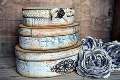 Krabičky - Sada 3 oválnych vintage krabíc - 4994941_