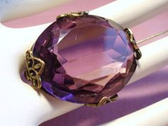 Vintage Faceted Amethyst Glass Open Back Stone Brooch from unforgettable on Ruby Lane