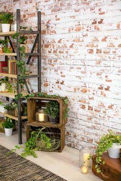 papiers peints trompe l'œil effet brique et déco en plantes vertes d'intérieur Plus