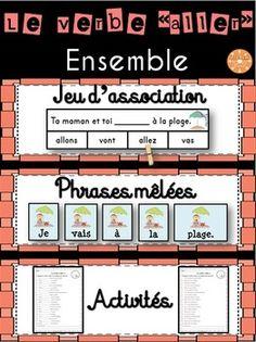 """Le verbe """"aller"""" - Ensemble - 3 activités pour pratiquer la conjugaison au présent de l'indicatif: phrases mêlées, jeu d'association, fiches d'écriture."""