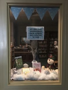 "January church library window. ""We are like snowflakes."""