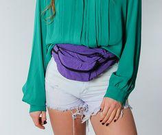 Vintage 90s Purple Fanny Pack  Waist Pack Bum Bag by VintageDiehls