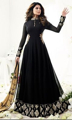Black Designer Floor Length Anarkali Suit