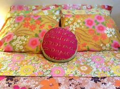 mismatched vintage bed sheets - wow colors!