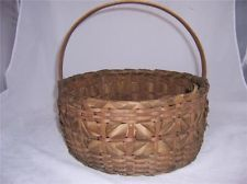 "Antique, Native American Indian, Ash Splint, Northeast Great Lakes Basket 13"" diam"