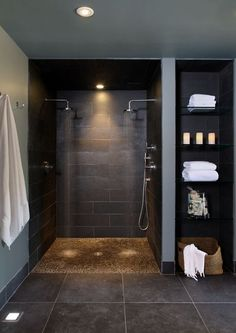No glass to clean! Narrow it down a bit by making the open linen shelving on one side and a soap/shampoo shelving on the shower side.
