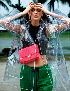 thecultress: Jennifer Messelier for Be Magazine found on fashnberry.com Glass clear plastic mac