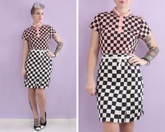 Checkered Mod Skirt Size M  Dusty Rose Capsule by minipennyvintage, $30.00