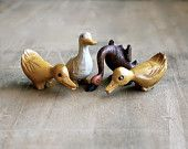 Down on the Farm - Vintage Wooden Ducks, Goose - Collection - Hand Carved - Brown - Rustic - Country - Spring