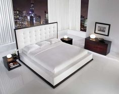 The-ludlow-hardwood-platform-bed-with-white-leather-headboard