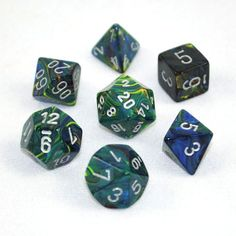 Set of 7 Chessex Festive Green/silver RPG Dice