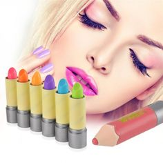 6PCS Crayons Moisturizing Color Changing Lip Balm Colorful Pen Makeup Lip Gloss Lipstick Fragranced  US$ 1.80
