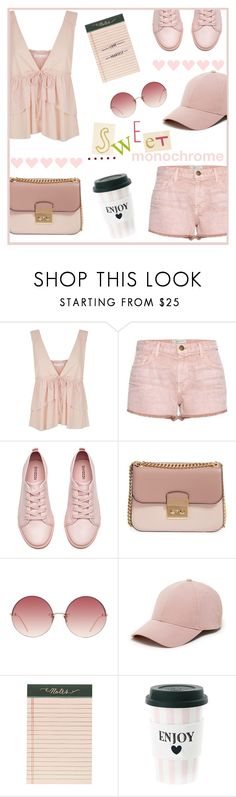 Color Me Pretty:  Head-To-Toe Pink by jenesaispas19 on Polyvore featuring moda, See by Chloé, Current/Elliott, H&M, MICHAEL Michael Kors, Sole Society, Linda Farrow, Miss Étoile, Rifle Paper Co and monochromepink