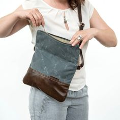 Waxed Canvas and Leather Crossbody Day Bag with Leather Strap, Slate Gray, Made in America by Stitch and Rivet Waxed Canvas Bag, Canvas Leather, Canvas Tote Bags, Canvas Purse, Leather Pouch, Leather Purses, Foldover Crossbody Bag, Day Bag, Unisex Fashion