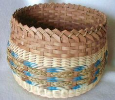 """Bluebird Basket Pattern  $3.50 - By Ann Snider  $5.50 - Woven with a 8"""" Round Double Slotted Base. Contact us on BasketBees.com to purchase this pattern and slotted basket base."""