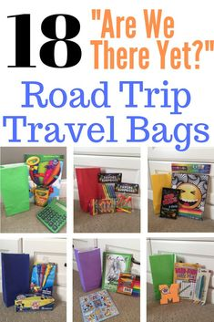 "Plan ahead for your upcoming family road trip by making these awesome activity bags. Just when they start to get bored, surprise your kids with a fun new activity and treat. Inexpensive and essential ""Are We There Yet? Kids Travel Activities, Road Trip Activities, Road Trip Games, Summer Activities, Car Activities For Toddlers, Car Games For Kids, Airplane Activities, Road Trip Snacks, Road Trip With Kids"