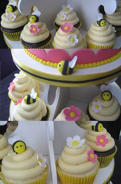 Bumblebee cupcakes collage