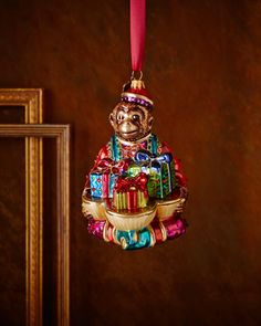 Monkey with Gifts Christmas Ornament by Jay Strongwater at Neiman Marcus.